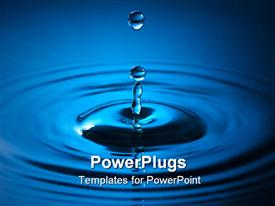 PowerPoint template displaying a drop of blue colord water making a water ripple