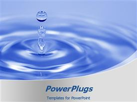 PowerPoint template displaying a drop of water with bluish background