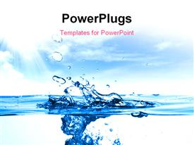 PowerPoint template displaying close up shot of a water drops