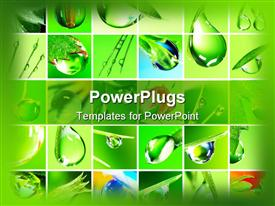 PowerPoint template displaying collage of water drops in fresh green setting, fresh rain water drops on leaves