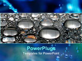 PowerPoint template displaying falling water drops, close up rain drops on the road
