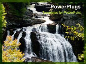 PowerPoint template displaying beautiful waterfall with water dropping into a beautiful gorge