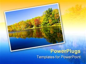 PowerPoint template displaying nature depiction of lake water and autumnal trees reflected in the water