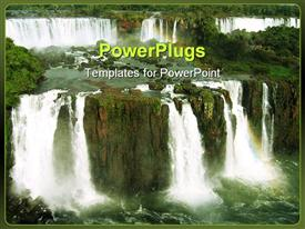 PowerPoint template displaying iguacu falls Argentine side - view from Brazil