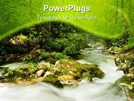 PowerPoint template displaying mountain stream in Great Smoky Mountains National park