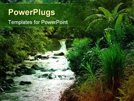 PowerPoint template displaying flowing stream with green natural vegetation