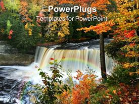PowerPoint template displaying a beautiful scenery with water springs and trees in the background