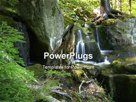 PowerPoint template displaying scenic water falls in Allegheny national forest