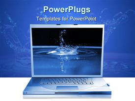 PowerPoint template displaying grey laptop and blue water drop