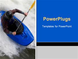 Slow shutter speed shot of a kayaker in very rough whitewater presentation background