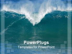 PowerPoint template displaying sea water with large wave and huge sprays of water forming the top of a heart shape
