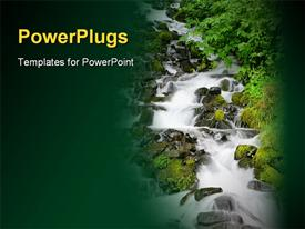 PowerPoint template displaying beautiful waterfall cascades down a rocky hill in the background.