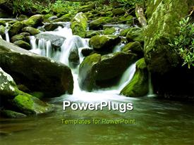 PowerPoint template displaying a lovely water fall scene with lots of moss around it