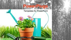 Daisy flowers with grass and garden tools on white powerpoint theme