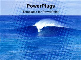 PowerPoint template displaying small wave of a wide deep blue colored ocean