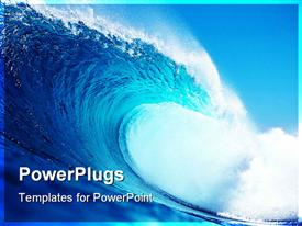 Big blue wave surfing in the ocean powerpoint theme