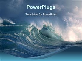 PowerPoint template displaying storm on the ocean, big waves, crashing on blue background