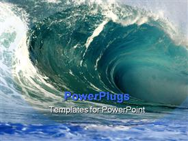 PowerPoint template displaying giant breaking wave on the north shore of Hawaii in the background.