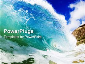 PowerPoint template displaying giant wave breaking in clear colorful waters of Hawaii in the background.