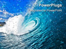 PowerPoint template displaying huge blue ocean wave with blue sky