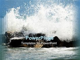 PowerPoint template displaying waves crashing to the coast rocks Italy Mediterranean sea