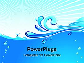 PowerPoint template displaying abstract blue waves, water drops on pale background
