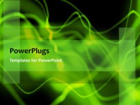 PowerPoint template displaying abstract animated green waves on black background