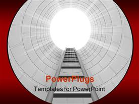 PowerPoint template displaying ladder leading upwards in the background.