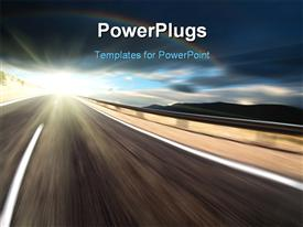 PowerPoint template displaying road and dark sky with motion blur in the background.