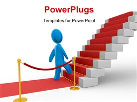 PowerPoint template displaying blue figure stepping on stairs with red carpet. Concept of bright future, growth and new possibilities in the background.