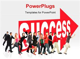 Business themed collage people run to success following the arrow sign powerpoint design layout