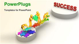 PowerPoint template displaying teamwork depiction with 3D team constructing bridge towards success