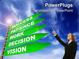 PowerPoint template displaying woman pointing up to sign post showing five steps to success