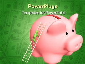 PowerPoint template displaying a piggy bank with a figure on a ladder