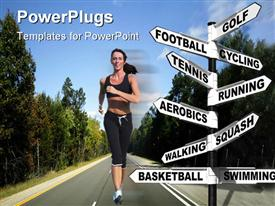 Concept signpost showing ten different ways to exercise for a healthy lifestyle powerpoint theme