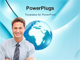 PowerPoint template displaying touch-tablet in hands with businessman in the background.