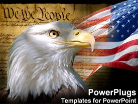 Bald eagle, the American flag and the Constitution presentation background