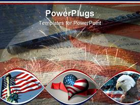PowerPoint template displaying collage of depictions by the artist - US Declaration of Independence flute American flag eagle and fir