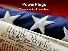 PowerPoint template displaying uS Constitution wrapped with a US flag in the background.