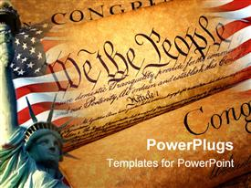 PowerPoint template displaying declaration of independence rolled up in the background.