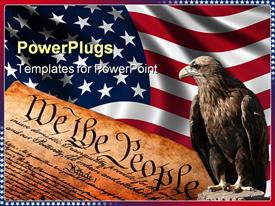 PowerPoint template displaying american flag behind close up of constitution and posed bald eagle, USA, patriotism