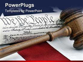 PowerPoint template displaying a gavel on a desk along with the American constitution