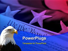 PowerPoint template displaying american Eagle looks on over the United States of America flag