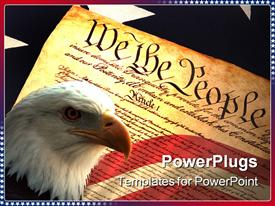 PowerPoint template displaying united States Constitution on Flag in the background.