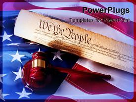 PowerPoint template displaying a gavel and the constitution of America