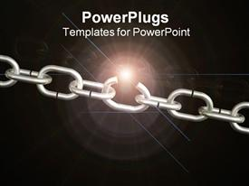 PowerPoint template displaying a steel chain with blackish background