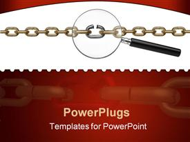 PowerPoint template displaying a stainless steel chain with a magnifying glass