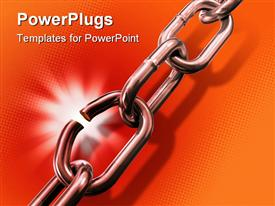 PowerPoint template displaying breaking link in a metal chain. Digital depiction