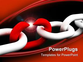 Fine 3D image of white chain and weak red point template for powerpoint