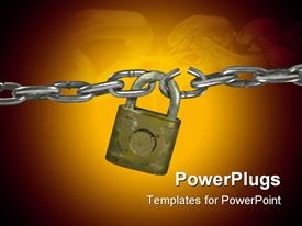 Lock with chain has broken link powerpoint design layout